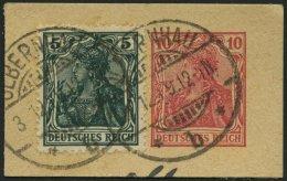 Dt. Reich 85IIe BrfStk, 1918, 5 Pf. Schwarzopalgrün Kriegsdruck Auf Ganzsachenausschnitt, Pracht, Gepr. Jäschk