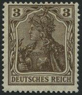 Dt. Reich 84IIb **, 1918, 3 Pf. Schwärzlichbraun Kriegsdruck, Pracht, Gepr. Jäschke, Mi. 70.-