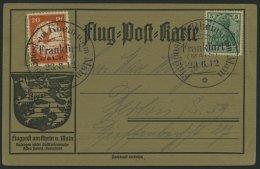 Dt. Reich VI BRIEF, 1912, 20 Pf. E.EL.P. Auf Flugpostkarte Mit Sonderstempel FRANKFURT 23.6.12, Leichte Zahnmängel