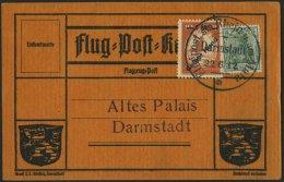Dt. Reich IV BRIEF, 1912, 1 M. Auf 10 Pf. Gelber Hund Auf Karte Mit Sonderstempel Darmstadt 22.6.12, Pracht