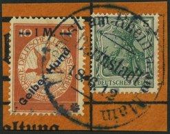 Dt. Reich IV BrfStk, 1912, 1 M. Auf 10 Pf. Gelber Hund Mit Stempel DARMSTADT Auf Sonderkartenabschnitt, Pracht, Mi. 200.