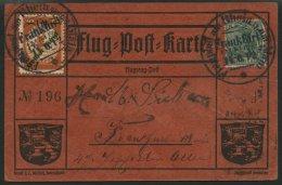 Dt. Reich IVDD BRIEF, 1912, 1 M. Gelber Hund Mit Doppeltem Aufdruck (erst Gelb, Darauf Dunkelblau) Auf Roter Hund-Karte