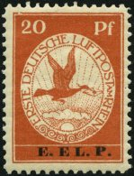 Dt. Reich VI PFVII *, 1912, 20 Pf. E.EL.P. Mit Plattenfehler Oberer Rahmen Links über 20 Gebrochen, Falzrest, Prach