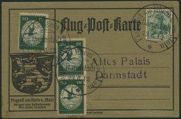 Dt. Reich III BRIEF, 1912, 30 Pf. Flugpost Am Rhein- Und Main, 3x Auf Karte Mit Sonderstempel DARMSTADT, Pracht, Mi. 400