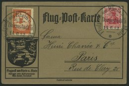 Dt. Reich I PFII BRIEF, 1912, 10 Pf. Flp. Am Rhein Und Main Mit Plattenfehler Farbpunkt Oben Rechts Im O In Luftpost (Fe