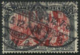 Dt. Reich 97AIM O, 1905, 5 M. Ministerdruck, Rahmen Dunkelgelbocker Quarzend, Pracht, Fotoattest Jäschke, Mi. 2000.