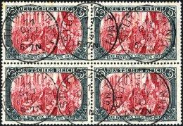Dt. Reich 97AIb VB O, 1906, 5 M. Friedensdruck, Karmin Quarzend, Im Viererblock, Pracht, Gepr. Dr. Oechsner