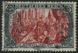 Dt. Reich 97AIa O, 1906, 5 M. Friedensdruck, Gelblichrot Quarzend, üblich Gezähnt Pracht, Gepr. Jäschke-L