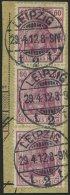 Dt. Reich 92Ia BrfStk, 1911, 60 Pf. Graulila Friedensdruck, Paar Und Einzelmarke Auf Postabschnitt, Pracht
