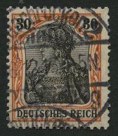 Dt. Reich 89Iy O, 1913, 30 Pf. Auf Orangeweiß Friedensdruck, üblich Gezähnt, Pracht, Gepr. Zenker, Mi. 1