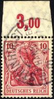 Dt. Reich 86IaPOR O, 1905, 10 Pf. Karminrot Friedensdruck, Plattendruck, Oberrandstück, Normale Zähnung, Prach