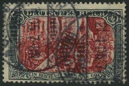 Dt. Reich 81Bb O, 1902, 5 M. Grünschwarz/dunkelkarmin, Gezähnt B, Ohne Wz., Rückseitige Schürfung So