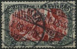 Dt. Reich 81Bb O, 1902, 5 M. Grünschwarz/dunkelkarmin, Gezähnt B, Ohne Wz., Farbfrisch, Feinst (Knitterspuren
