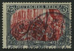Dt. Reich 81Aa O, 1902, 5 M. Grünschwarz/dunkelkarmin, Mittelstück Gelblichrot Quarzend, üblich Gezä
