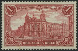 Dt. Reich 78Ab *, 1902, 1 M. Karminrot, Gezähnt A, Ohne Wz., Falzreste, Pracht, Gepr. Zenker, Mi. 320.-