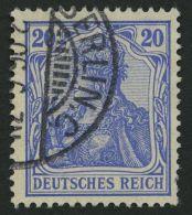 Dt. Reich 72b O, 1902, 20 Pf. Lilaultramarin Germania, Ohne Wz., Feinst, Gepr. Jäschke-L., Mi. 100.-