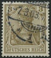 Dt. Reich 69I O, 1902, 3 Pf. Germania Mit Plattenfehler Erstes E In Deutsches Unten Ohne Querstrich, Pracht, Mi. 55.-