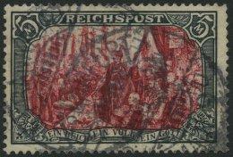 Dt. Reich 66I O, 1900, 5 M. Reichspost, Type I, Minimaler Eckzahnbug Oben Rechts Sonst Pracht, Fotoattest Jäschke-L