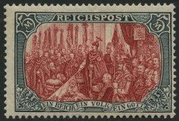 Dt. Reich 66II *, 1900, 5 M. Reichspost, Type II, Falzreste, Punkthelle Stelle Sonst Pracht, Mi. 480.-