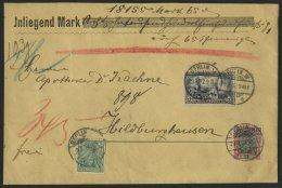 Dt. Reich 65I BRIEF, 1902, 3 M. Reichspost, Type I, Mit 45 Pf. Zusatzfrankatur Auf Geldbrief Von Berlin Nach Hildburghau