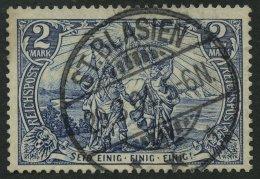 Dt. Reich 64II O, 1900, 2 M. Reichspost, Type II, Zentrischer Stempel ST. BLASIEN, Pracht, Gepr. Jäschke, Mi. 85.-