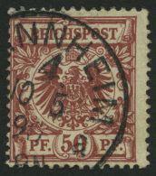 Dt. Reich 50a O, 1889, 50 Pf. Feuerrot, Etwas Bügig Sonst Pracht, Gepr. Wiegand, Mi. 90.-