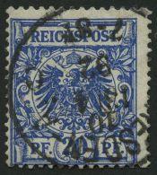 Dt. Reich 48ba O, 1892, 20 Pf. Schwarzblau, Pracht, Gepr. Zenker, Mi. 90.-