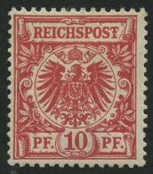 Dt. Reich 47I *, 1889, 10 Pf. Karmin Mit Plattenfehler T Von Reichspost Mit Querbalken, Falzrest, Pracht, Mi. 100.-