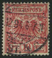 Dt. Reich 47cI O, 1893, 10 Pf. Bräunlichrot Mit Plattenfehler T Von Reichspost Mit Querbalken, Pracht, Gepr. Starau