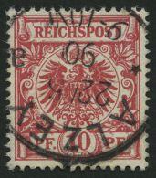 Dt. Reich 47ba O, 1890, 10 Pf. Lebhaftrosarot, Pracht, Gepr. Zenker, Mi. 60.-