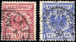 Dt. Reich 47/8ax O, 1889, 10 Pf. Karminrosa Und 20 Pf. Mittelultramarin, Dünnes Papier, 2 Prachtwerte, Gepr. Wiegan