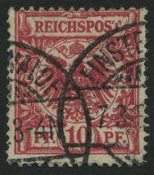 Dt. Reich 47aII O, 1889, 10 Pf. Rosakarmin Mit Plattenfehler T Von Reichspost Oben In Der Mitte Offen, Kleine Bugspur So