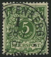 Dt. Reich 46ba O, 1891, 5 Pf. Dunkelgelblichgrün, Pracht, Fotobefund Jäschke-L., Mi. 300.-