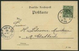 Dt. Reich 46aa BRIEF, 1890, 5 Pf. Dunkelgrün, Prachtkarte Von HAMBURG Nach M. Gladbach, Gepr. Zenker