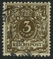 Dt. Reich 45aa O, 1889, 3 Pf. Dunkelbraun, Feinst, Gepr. Zenker, Mi. 85.-