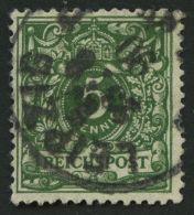 Dt. Reich 46aa O, 1890, 5 Pf. Dunkelgrün, Pracht, Gepr. Zenker, Mi. 80.-