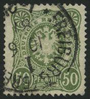 Dt. Reich 44ca O, 1887, 50 Pf. Seegrün, Normale Zähnung, Gepr. Wiegand, Mi. 60.-