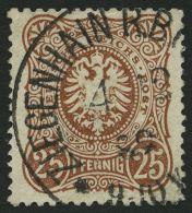 Dt. Reich 43a PF IV O, 1880, 25 Pf. Braun Mit Plattenfehler Erstes N In Pfennig Durchbrochen, Helle Stelle Sonst Pracht,