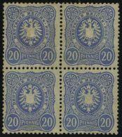 Dt. Reich 42a VB (*), 1880, 20 Pf. Violettultramarin Im Viererblock, Ohne Gummi, Etwas Unfrisch Sonst Pracht, Gepr. Zenk