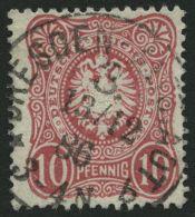 Dt. Reich 41b PF VI O, 1886, 10 Pf. Lebhaftrotkarmin Mit Plattenfehler Außenlinie Unter Linkem Wertschild Gebroche