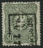 Dt. Reich 38b O, 1877, 50 Pfe. Dunkelolivgrün, Normale Zähnung, Gepr. Zenker, Mi. 200.-