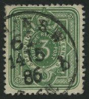 Dt. Reich 39aa O, 1884, 3 Pf. Dunkelgrün, Pracht, Gepr. Wiegand, Mi. 100.-