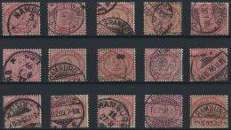 Dt. Reich 37f O, 1899, 2 M. Lilakarmin, 15 Werte Feinst (meist Kleine Zahnunebenheiten), Alle Geprüft Wiegand, Mi.