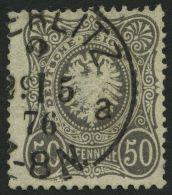 Dt. Reich 36b O, 1875, 50 Pfe. Schwarzgrau, Helle Stelle Sonst Pracht, Gepr. Zenker, Mi. 450.-