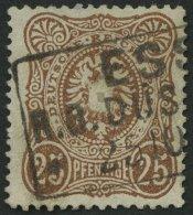 Dt. Reich 35b O, 1878, 25 Pfe. Gelbbraun, Normale Zähnung, Gepr. Zenker, Pracht, Mi. 130.-
