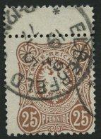 Dt. Reich 35aa O, 1877, 25 Pfe. Fahlrosabraun, Oben Mit Steg, Pracht, Gepr. Petry, Mi. 100.-