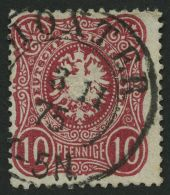Dt. Reich 33aa O, 1875, 10 Pfe. Blutrot, Zentrischer K2 HÖXTER, Pracht, Gepr. Zenker, Mi. 250.-