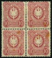 Dt. Reich 33a VB *, **, 1875, 10 Pfe. Rosa Im Viererblock, Feinst (angetrennt, Waagerechten Bug Und Leicht Stockig), R!