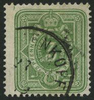 Dt. Reich 31bB O, 1875, 3 Pfe. Gelbgrün, Breite Marke, Pracht, Gepr. Wiegand, Mi. 120.-