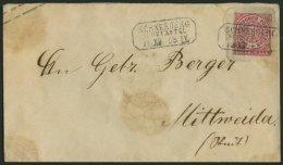 NDP U 51A BRIEF, 1863, 1 Gr. Rosa Auf 3 Ngr. Braun, Format A, R3 SCHNEEBERG, Etwas Fleckig, Feinst, Mi. 110.-